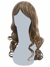 Long Curly Dirty Blonde Bangs Brunette Lace front Heat friendly Cosplay Wig