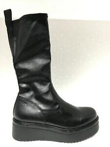 Vagabond Tara Black Leather Comb Mid-Calf Wedge Platform Sock Boots EU39 US9 ***