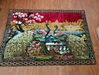 """Vintage Velvet Wall Carpet tapestry Colorful Peacock 57"""" x 39"""" made in Italy"""