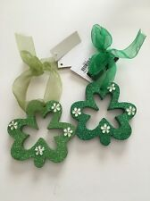 St. Patrick's Day Ornaments Pair of Green Shamrocks Jeweled Wooden New