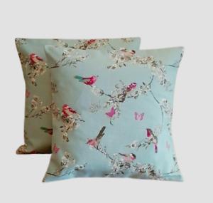 "16"" 18"" 20"" 22"" Cushion Cover Blue Duck-Egg Pink Birds Floral Print Handmade"