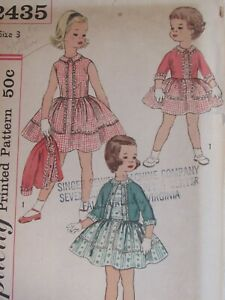 Darling VTG 60s SIMPLICITY 2435 Toddler Girls Dress & Jacket PATTERN 3/22B UC
