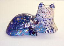 Vintage 1959 Calico Patchwork Fabric Ceramic Cat Collection # 18 Figurine Signed