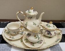 Miniature Porcelain 7 Piece Tea Set Floral Bee Butterfly Gold Trim 2004