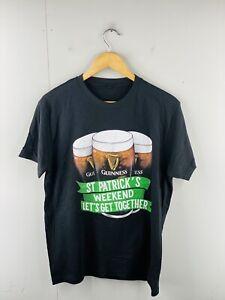 Guinness Men's Short Sleeve Crew Neck T Shirt Size M Black St Patricks Weekend