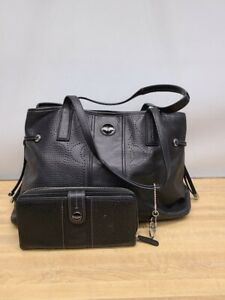 Coach Signature Black Perforated Carryall Bag and Wallet Set