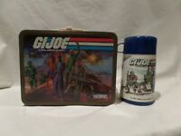 VINTAGE 1982 G.I. JOE METAL LUNCH BOX / 1986 THERMOS BY HASBRO THERMOS