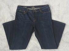 Women's Liz Claiborne Bootcut Mid Rise Dark Wash Denim Jeans Size 14 Regular