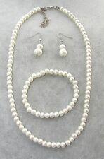 Collana girocollo in perle bianche 6mm + bracciale + orecchini c/ vetro da donna