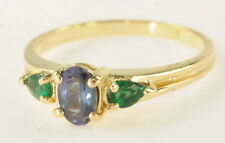 14k Yellow Gold Genuine Alexandrite & Emerald Three Stone Ring