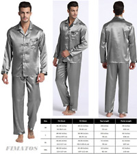 Mens Silk Satin Pajamas Set Sleepwear Loungewear,XLarge( waist 38-40),Light Gray