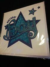 Birthday Boy Card BNIP White & Blue Glittery Cut Out