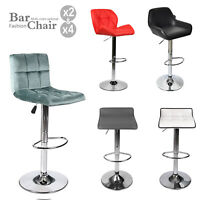 Set Of 2/4 Bar Stools Leather Adjustable Counter Height Swivel Pub Dining Chairs