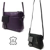 Ladies Womens Real Leather Shoulder Handbag Zip Cross Body Small Bag Vanita