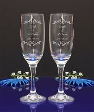 Personalised Engraved Mr Mrs Wedding Champage Flute Glass Set of 2  /by jevge 21