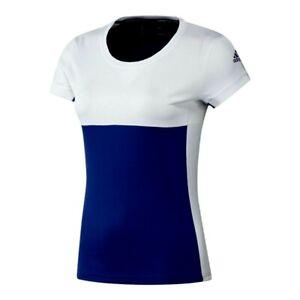 adidas Damen Sport T-Shirt Tennis T16 Team Weiß Blau Fitness Climacool NEU  2XS