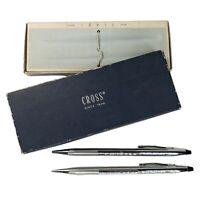 Vintage Cross Lustrous Chrome Pen and Pencil Set 3501 Original Box USA Black Ink