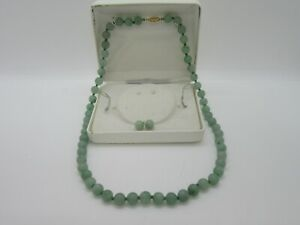 14K Gold Jadeite Necklace & Earrings