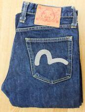 Evisu Raw Denim Jeans W29 L30 Dark Blue White Motif