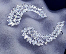 18k White Gold GF Trendy Earrings made w Swarovski Crystal Marquise Stone Bridal