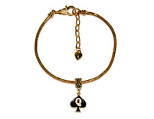 Queen Of Spades Enamel Charm Euro Anklet Ankle Chain Jewellry QOS Cuckold Gold