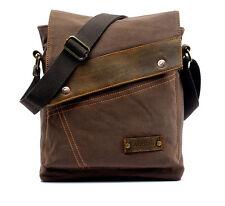 Coffee Men Vintage Canvas Leather Satchel School Military Shoulder Messenger Bag