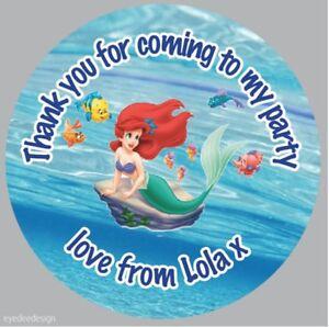 Personalised Princess Ariel Mermaid Birthday Party Bag Cone Stickers  -334