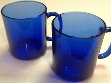 """2 Cobalt Blue Glass MUGS Coffee Cups Made in France 3 1/2"""" X 3"""" VGUC"""