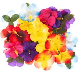 30 X ARTIFICIAL HIBISCUS FLOWERS COLOURFUL HAWAIIAN TABLE DECOR & CENTREPIECES