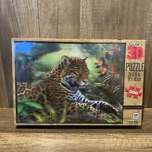 """MB Super 3D Leopard Puzzle Lazy Amazon Afternoon 500 Pc 24"""" x 18"""" NEW Sealed Box"""