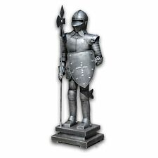 SV Medieval Knight Tin Armor Decorative Figurine Pikeman Standing Guard Statue