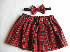 Red Tartan Skirt and Bow Headband Set, Baby Girls Headwrap Hair tie Headwrap