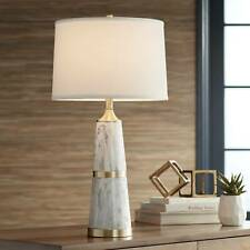 Modern Table Lamp White Faux Marble Drum Shade for Living...