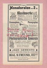 BRESLAU-WIEN, Werbung 1906, Bial & Freund Musik-Werke Fotoapparate Grammophon
