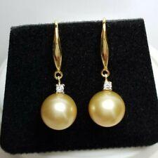 Genuine 10mm Australian South Sea Pearl Earrings, 18k gold hook, Natural pearls
