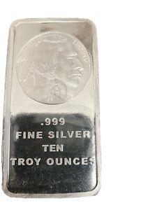 10 Oz .999 Fine Silver Bar - Indian Head/Buffalo Individually Sealed -10 Troy Oz