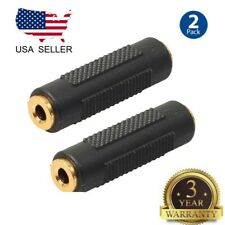 2 Pcs 3.5mm Stereo Audio Gold Plated Female to Female Jack Coupler Adapter Black