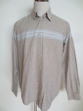 "Shirt le Frog Casual L 41 42 Long Sleeve Cotton Check "" Beige White Light Blue """