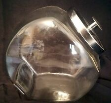 Cookie Jar Candy Storage Canister Apothecary Slant Glass Bubble Sides Chrome Lid