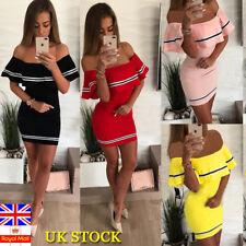 UK WOMEN SUMMER OFF SHOULDER FRILL MINI DRESS BEACH SHORT SLEEVE BODYCON DRESSES