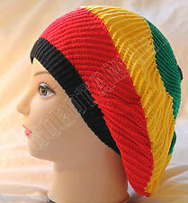 Cool Knit Rasta Dreads Hippie Slouchy Beret Black Red Yellow Green Stripe Hat.
