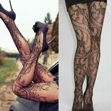 d874f3615c7da Women's Hollow Out Fishnet Sheer Mesh Tattoo Lace Tights Stockings Pantyhose