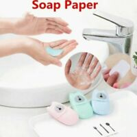 100pcs Portable Washing Hand Soap Flakes Paper Scented Foaming Slice Sheets AU
