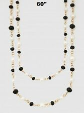 "60"" Long White Pearl and Black Crystal Beaded Wrap Around Necklace 8mm"