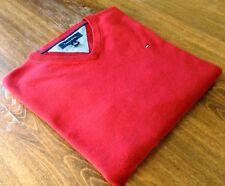 Tommy Hilfiger size L V Neck 100% Cotton Men's Sweaters Red