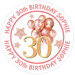 48 Personalised Party Bag Stickers 30th 40th Birthday 40mm Labels