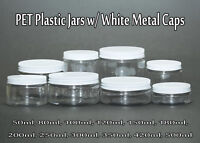 Empty PET Plastic Jars - Clear Jars and WHITE Metal Screw Caps Lids 50ml-500ml