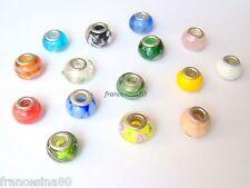 10 perle vetro vari colori interno argento foro grande 14x9mm