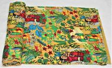 Indian Kantha Quilt Twin Bedspread Reversible Frida Blanket Throw Handmade Gudri