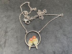 G 925 Sterling Silver Gems( Garnet Citrine )Paving Two Love Bird Necklace -40cm
